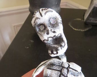 """Vintage Paper Mache Skull Calavera 9.5"""" Statue- Perfect for your Day of the Dead Altar"""
