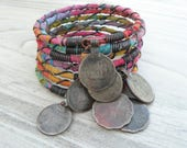 Silk Road 7 Piece Bangle Stack, Batik Wrapped, Stacking Bracelets, Tribal Gypsy Jewelry, Colorful, Rainbow