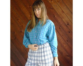 Green Purple Plaid Flannel Long Sleeve Shirt- Button Down - Vintage 80s - MEDIUM LARGE M L
