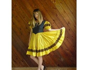20% off SUMMER SALE. . . Polka Dot Square Dancing Mini Dress - Vintage 70s - S/M
