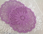 Hand made, crochet, coasters, set of two, wood violet, new, ready to mail