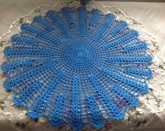 Crochet, vibrant blue / peacock color doily, new