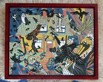 Shakesperean Flock of birds, original woodcut, framed in solid curly maple