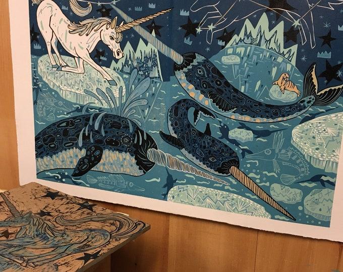 Unicorn and Narwhal art, woodcut print, block print, original art by Jenny Pope, modern wall art, contemporary