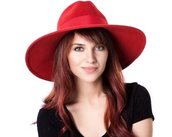 Wide Brimmed Hat Red Fedora Hat Fall Fashion Fall Accessories Wide Brimmed Fedora Fall Hat Women's Hat Custom Hat Kentucky Derby Hat