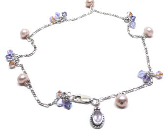 sterling silver chain cape amethyst charm anklet crystal pearl