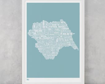Yorkshire Type Map, Yorkshire Word Map, Yorkshire Wall Art, Yorkshire Art Print, Yorkshire Text Map, Yorkshire Typographic Map, Yorkshire