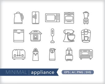 Minimal appliance line icons | EPS AI PNG | Kitchen Clipart Design Elements Digital Download