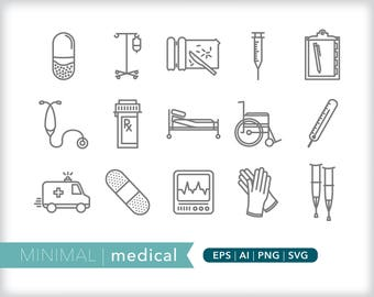 Minimal medical line icons | EPS AI PNG | Geometric Hospital Clipart Design Elements Digital Download