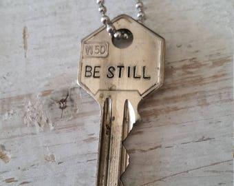 Hand Stamped Vintage Key Necklace Be Still