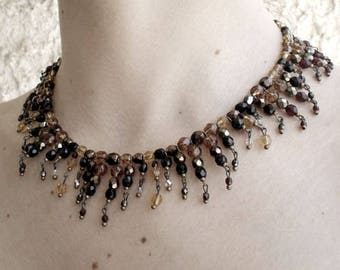 Statement necklace, multi color beaded necklace OOAK