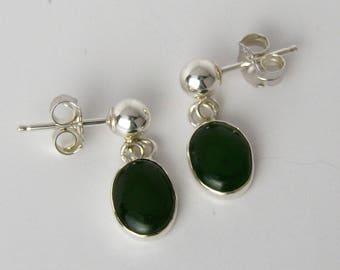 Nephrite Jade  8 x 6 mm ovals on Ball stud earrings