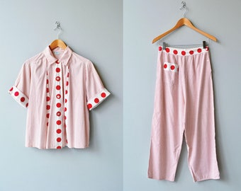 Dipsy Doodle pajamas | vintage 1930s cotton pajamas | two piece 30s lingerie