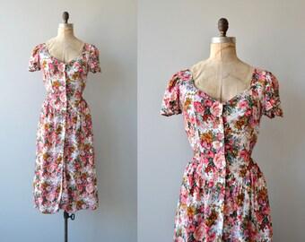 Tati floral button front dress | vintage floral rayon dress | 1980s floral dress
