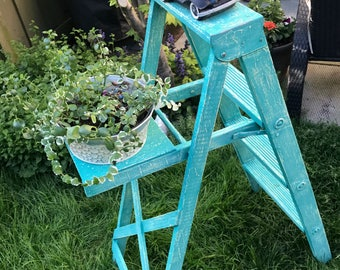 Vintage Painted Wooden Step Ladder