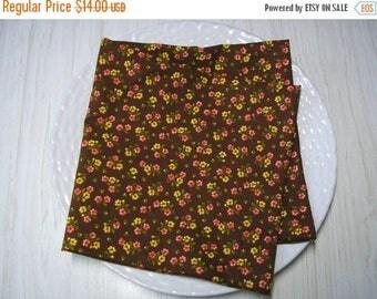 ON SALE Cloth Napkins Brown Floral Calico Set of 4