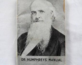 Vintage medicinal manual Humphrey's quack medicine 1920s 1922 revised edition very small
