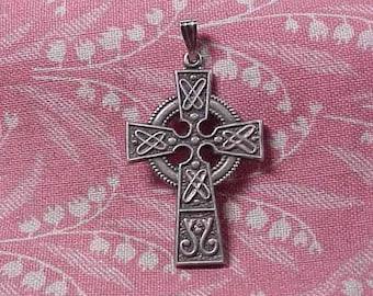 Vintage Sterling Silver Celtic Cross Pendant 1 1/8 inch length