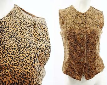 Scott Taylor Vintage Black and Tan Animal Print Button Front Soft Woman's Retro Vest