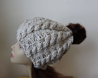 Cable Knit Hat Faux Fur Pompom Women Winter Hat Chunky Knit Hat Oatmeal Hat Brown Pompom Acrylic Hat - Ready to Ship - Gift for Her
