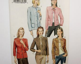 Vogue Sewing Pattern V9095, Misses Collarless Jacket, Sizes 18, 20, 22, Uncut 2004