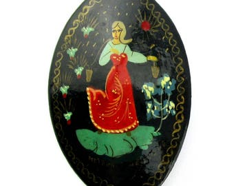 Russian Brooch Hand Painted Lacquer