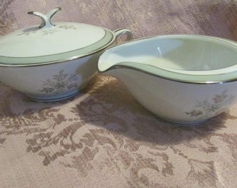 Noritake China Sugar Bowl With Lid And Creamer Lucille Pattern 5813 Lidded Sugar Bowl & Cream Pitcher Mid Century Platinum Band 1960s 60s