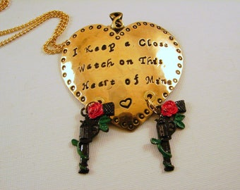 "Red Brass Heart Pendant Necklace Hand Stamped ""I keep a close watch on this heart of Mine"""