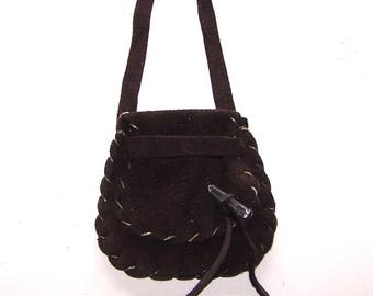 BROWN Leather Medicine Bag / Neck Pouch....Lg Secured Flap..Suede