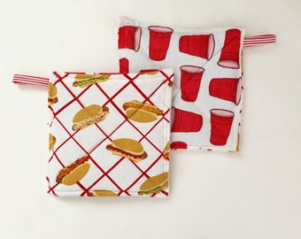 Party Potholder Set, Potholders, Hostess Gift, Funny Gift