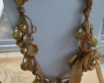 """Beige Ribbon Necklace, Faux Pearl, Faux Crystal, Gold Beads, Vintage, 32"""""""