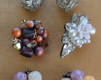 On sale Pretty Vintage Beaded Clip Earring Lot, Silver, Multi-Colored, Repurpose, Destash, Upcycle (AF14)