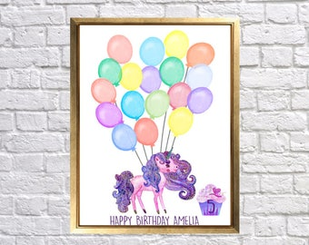 Unicorn Party Guest Book Print, Unicorn baby nursery, Birthday Party Guest Print, Purple Unicorn and balloons, Party Guest Keepsake, Lily