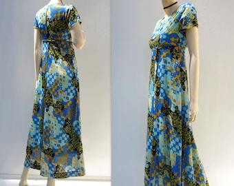 Vintage Maxi Dress 60s Hippie Dress Granny Square Dress 1960s Boho Dress 60s Festival Dress Babydoll Dress Turquoise Dress Bohemian Dress xs