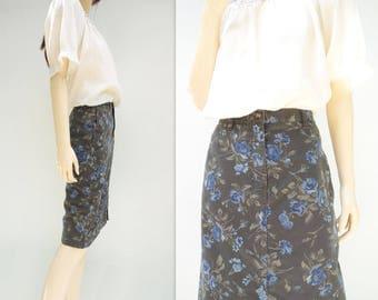Floral Pencil Skirt Floral Denim Skirt Denim Pencil Skirt Vintage Pencil Skirt 1990s Denim Skirt Olive Green Skirt Blue Floral Skirt m
