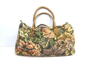 Vintage Floral Print Fabric Suitcase Tapestry Bag Double Strap Boho Travel Shoulder Tote Bag Purse Flower Pattern Shoulder Purse GS
