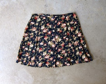 90s Express Floral Mini Skirt Button Front Revival Skirt High Waist Preppy Rayon MiniSkirt Vintage Navy Blue Pink Flirty Skirt Womens XS