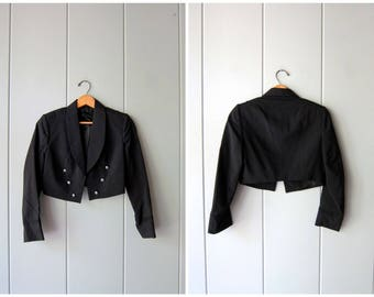 Black Cropped Jacket Thin Black Wool Coat 50s Military Tux Coat Structured Fall Blazer Army Air Force Uniform Jacket Womens XS Small