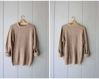 Chunky Oatmeal Sweater 90s Loose Knit Basic Plain Pullover Simple Rib Knit Sweater Raglan Sleeve Knit Sweater Vintage Womens Large XL