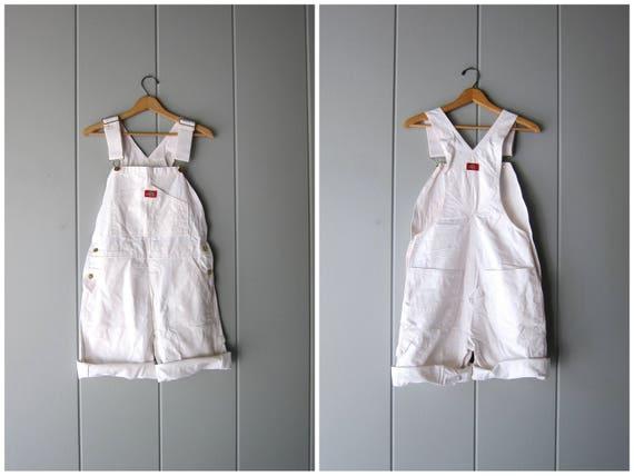 80s WHITE Bib Overalls DEADSTOCK Dickies Painters Bib Shorts Shorteralls Jean Shorts Denim Bibs Unisex Dungarees Womens Small Medium 30 X 30