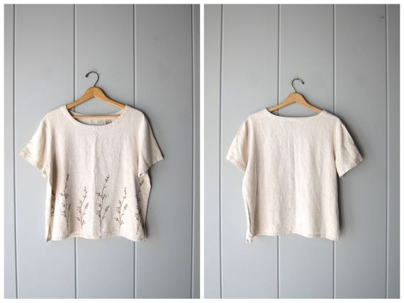 90s Natural Linen Rayon Blouse Boxy Beige Top Minimal Modern Tee Slouchy Loose Fit Embroidered Flowers Linen Floral Top Vintage Womens Large