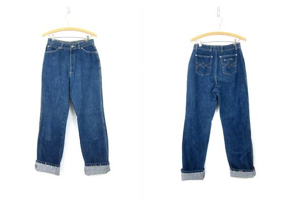 80s High Waist Blue Oscar De La Renta Jeans Denim Mom Jeans Vintage Dark Wash 1980s Hipster Jeans Womens size 28 x 33 28 inch waist