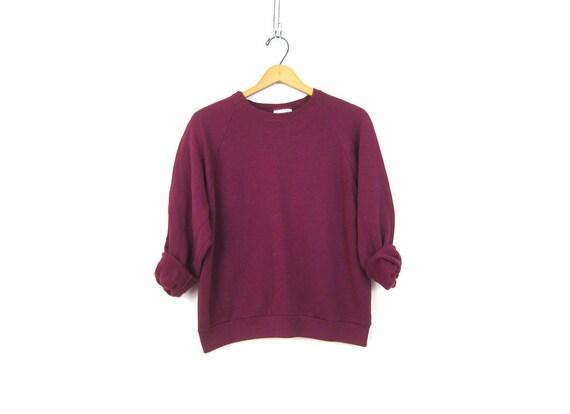 Purple Raglan sweatshirt 1980s slouchy sweater Basic Casual Sweater Plain shirt ATHLETICS Sports Sporty Top Women's Medium Large