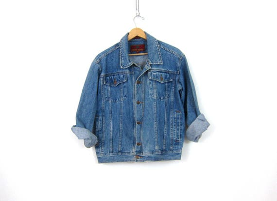 Blue Jean Coat Denim Trucker Jean Jacket Vintage Oversized Coat 1990s Baggy Hipster Urban Street Wear Jacket Unisex Size Medium Large