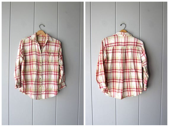 Vintage 80s Flannel Shirt Green Red Worn In Plaid Hunting Shirt Soft Thin Cotton Long Sleeve Rugged Button Up Shirt Womens Small Medium