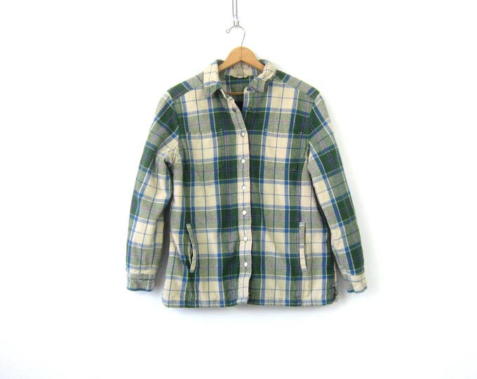 Vintage Flannel Jacket Insulated Lined Green Cotton Plaid Flannel Rugged Fall Coat Snap Button Down Pocket Shirt Jacket Mens Size Large