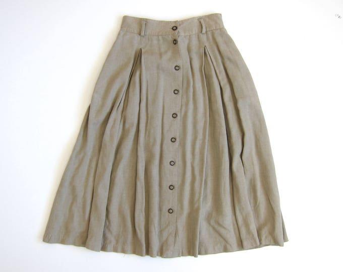 Basic Linen Skirt | 90s Midi Skirt | Button Up Skirt with Pockets | Long Vintage Minima Rayon Skirt Womens 10 Medium