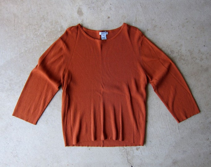 Ribbed Knit Top Rust Brown Tee Vintage 90s Long Sleeve Minimal Shirt Preppy Rib Modern Boxy Shirt Oversized Womens Petite XL