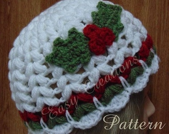 PDF CROCHET PATTERN Christmas Holly Hat, 20-23 inch head circumference, child, teen, adult, women, girls, holly leaf, berries, beanie