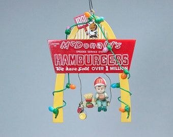 McDonald's 1990 Christmas Ornament Hamburgers We Have Sold Over 1 Million Holiday Wishes Enesco Speedee Service System